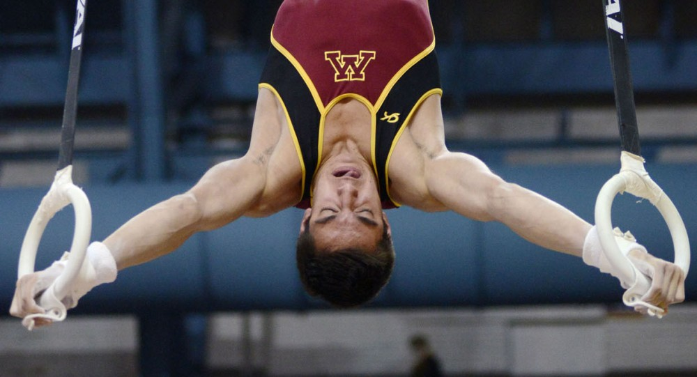 Minnesota's Steve Jaciuk competes on the rings Saturday, Feb. 2, 2013, at the Sports Pavilion.