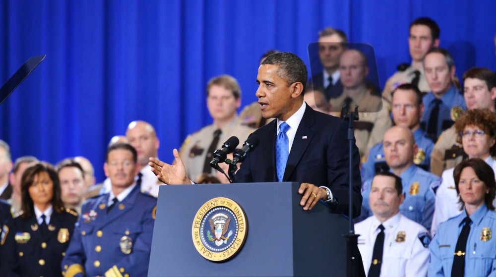 President Barack Obama speaks for tighter gun control on Feb. 4, 2013, at the Minneapolis Police Department Special Operations Center.