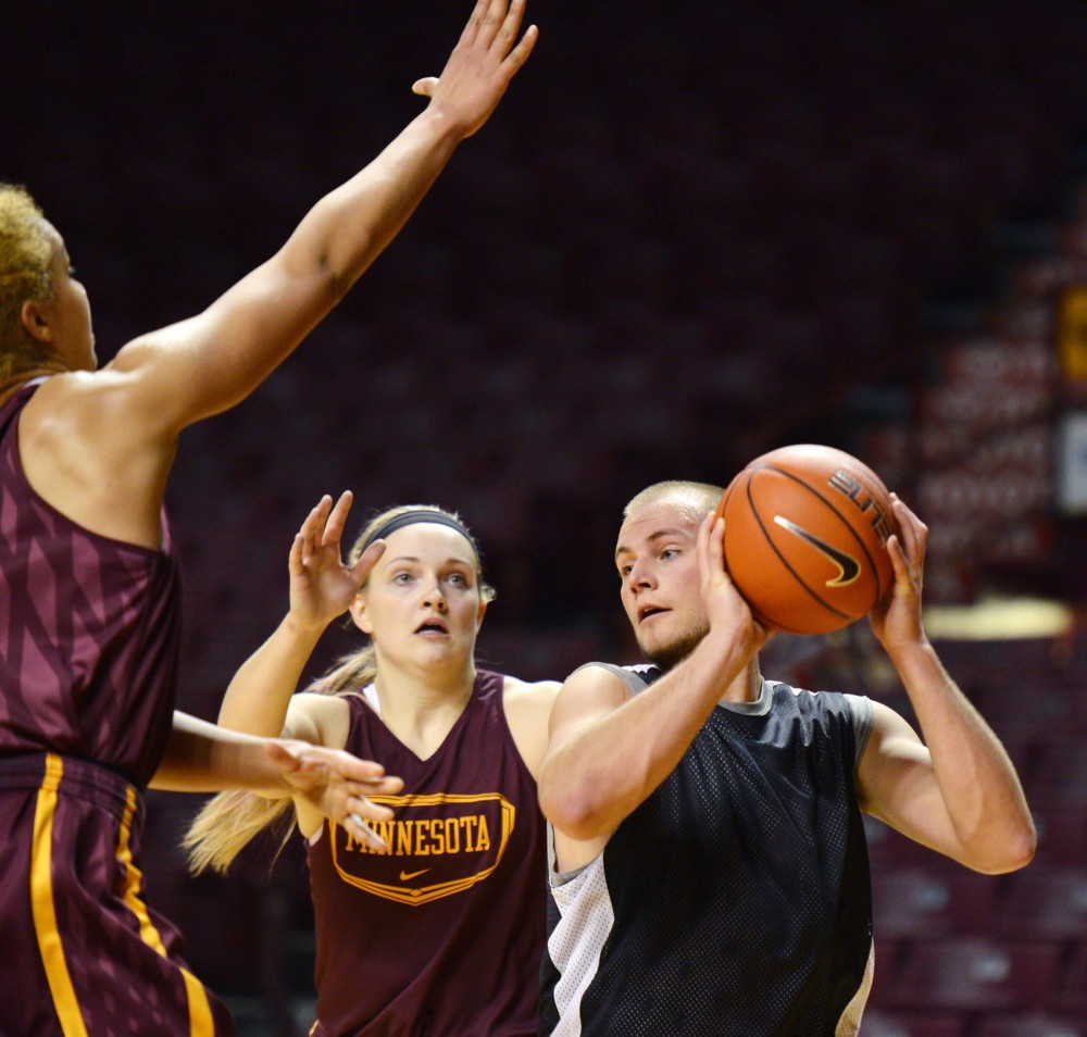 Former Maple Grove High School forward A.J. Litwinchuk practices with the Gophers women's basketball team Tuesday, February 5, 2013, at Williams Arena.