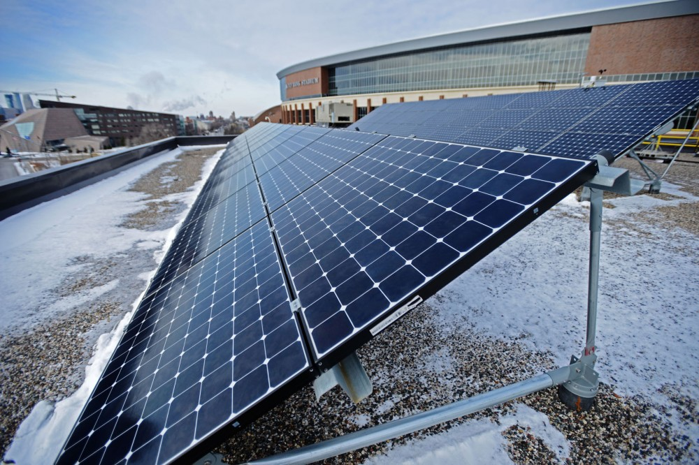 Earlier this year, solar panels were installed in two locations on campus, University Office Plaza Building and Rapson Hall. These solar panels located on University Office Plaza Building create an estimated 38.4 kilowatts of solar electric power — about enough energy to supply five homes a year.