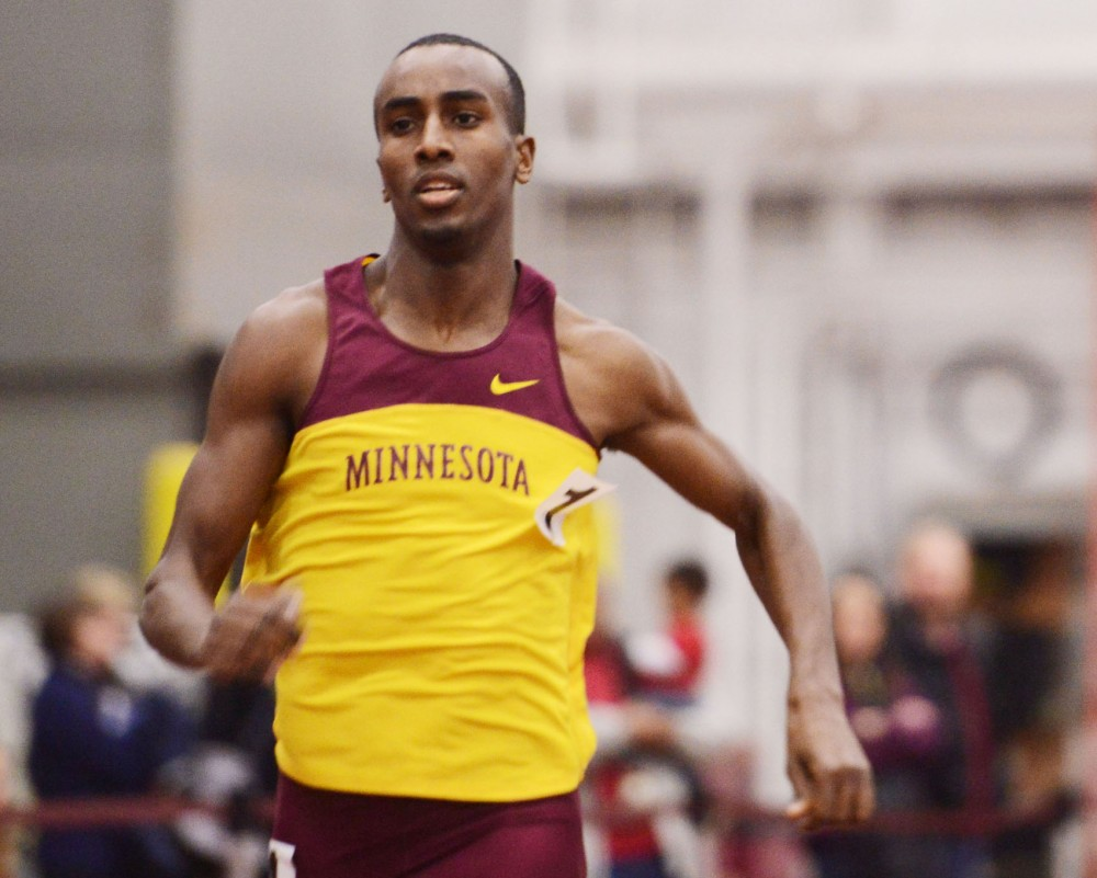 Minnesota's Harun Abda runs the 800-meter dash Friday, Feb. 15, 2013, at the University Fieldhouse. Abda set a Fieldhouse record with a time of 1:49.68.