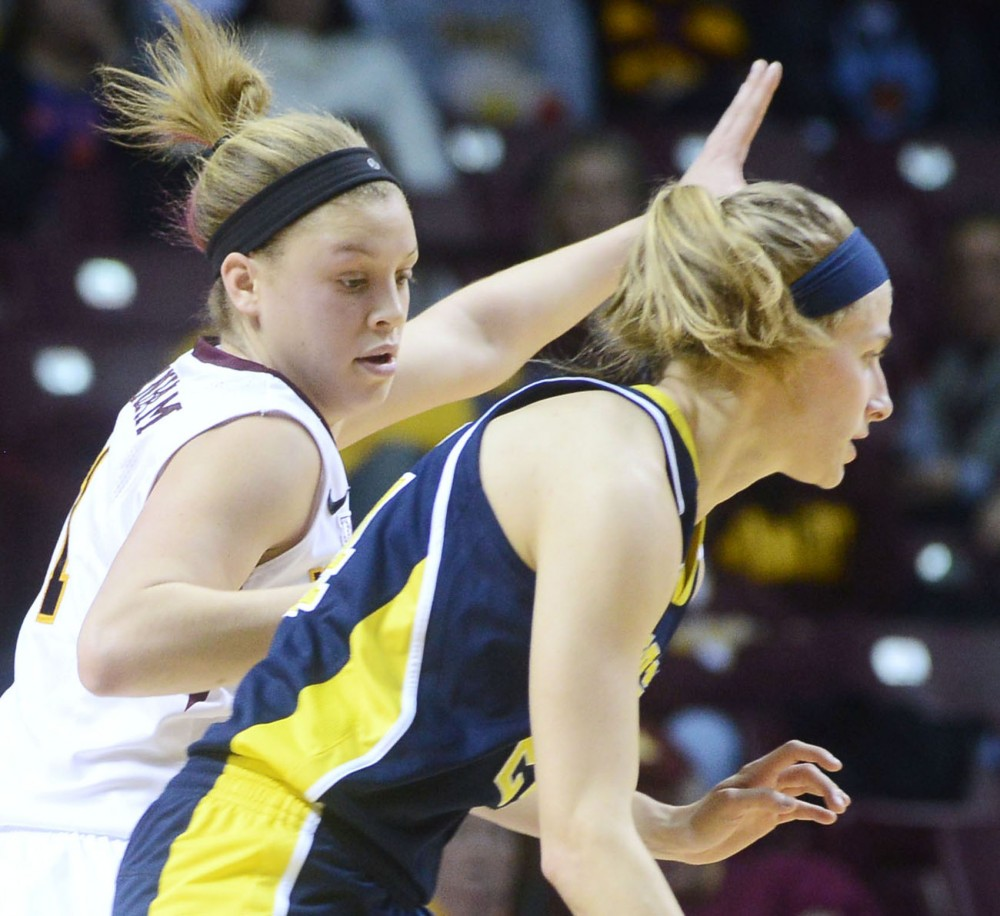 Guard Rachel Banham plays against Michigan on Thursday, Jan. 31, 2013, at Williams Arena.