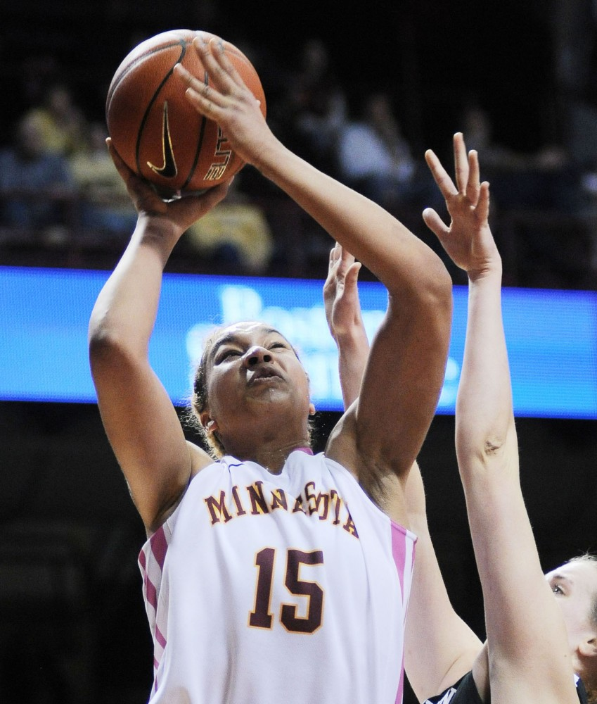 Minnesota forward Michaëlla Riché shoots against Northwestern on Sunday, Feb. 17, 2013, at Williams Arena.