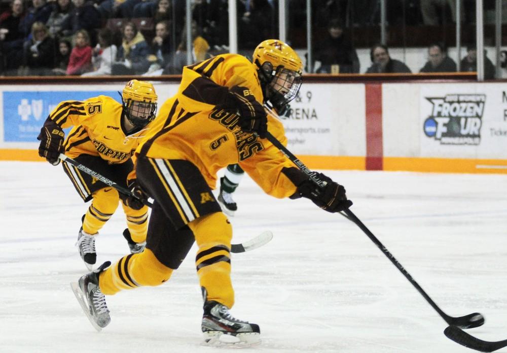 Minnesota defenseman Rachel Ramsey scores against Bemidji State on Saturday, Feb. 16, 2013 at Mariucci Arena.
