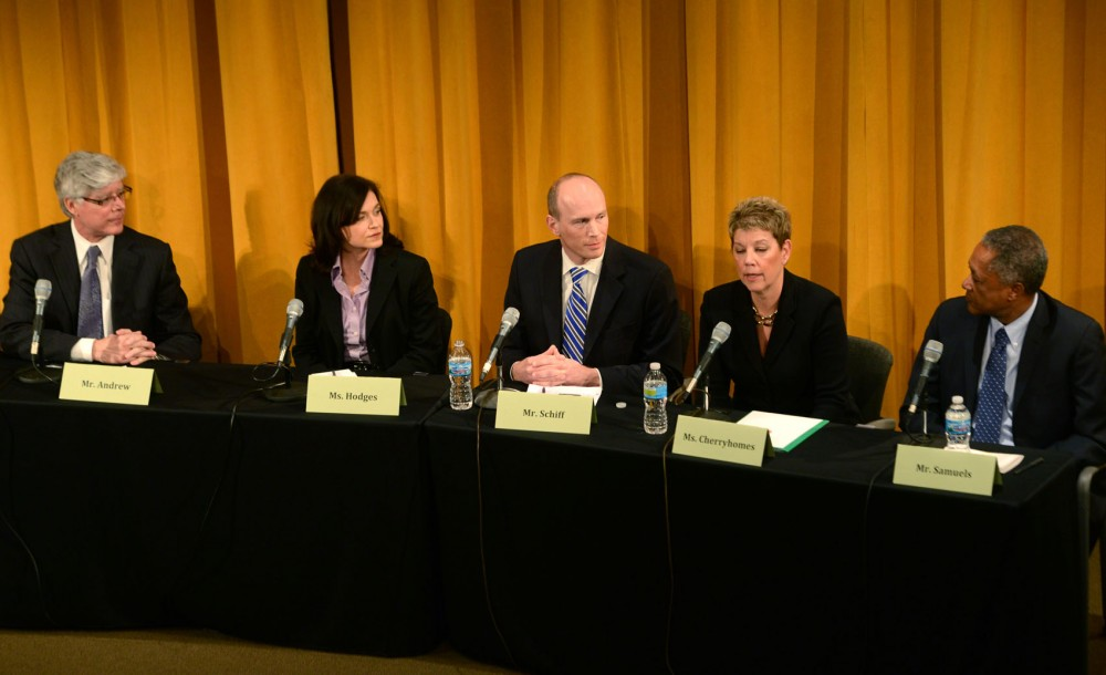 DFL Minneapolis mayoral candidates debate Wednesday, March 27, 2013, at the Humphrey School.