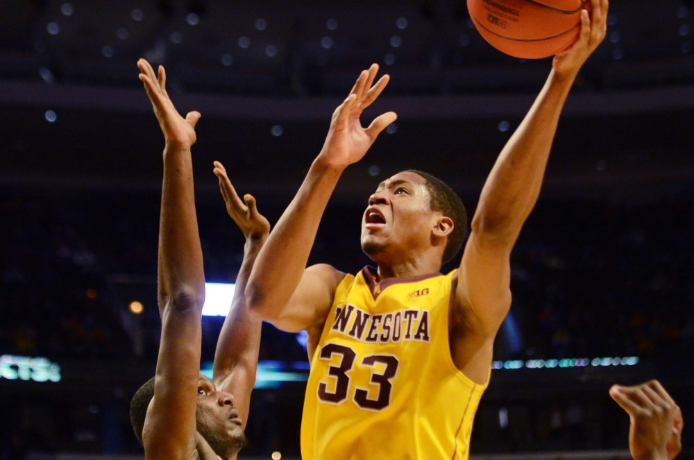 Minnesota forward Rodney Williams Jr. makes a basket at the first game of the Big Ten Tournament on Thursday, March 14, 2013, at the United Center in Chicago, Illinois.