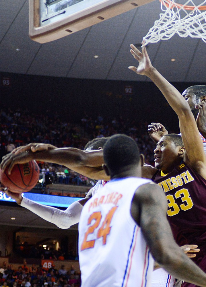Minnesota forward Rodney Williams Jr. fights for a rebound Sunday, March 24, 2013 at the Frank Erwin Center in Austin, Texas. The Gators defeated the Gophers 78-64, ending the Minnesota's NCAA run.