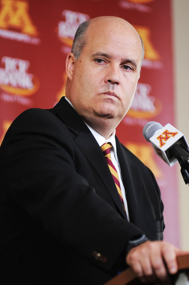 Athletics Director Norwood Teague holds a press conference announcing the dismissal of Men's Basketball Head Coach Tubby Smith on Monday, March 25, 2013, at TCF Bank Stadium.