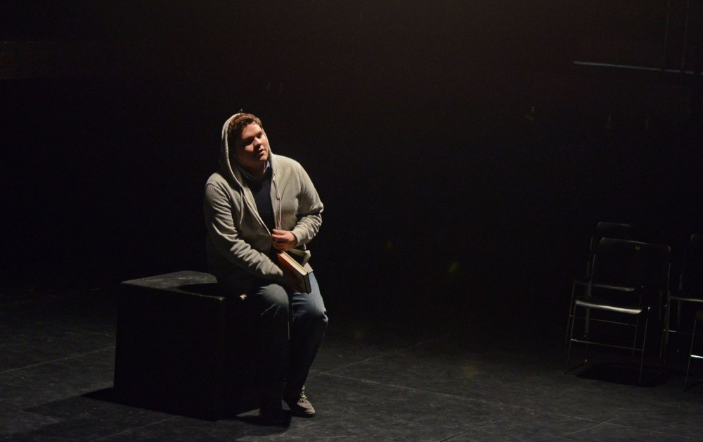 Junior George Rodriguez, a hispanic theater student, rehearses his monologues on Monday, March 25, 2013, at Rarig Center. Rodriguez said minority students within the University of Minnesota's theater program feel that they are left out of predominately white social circles.