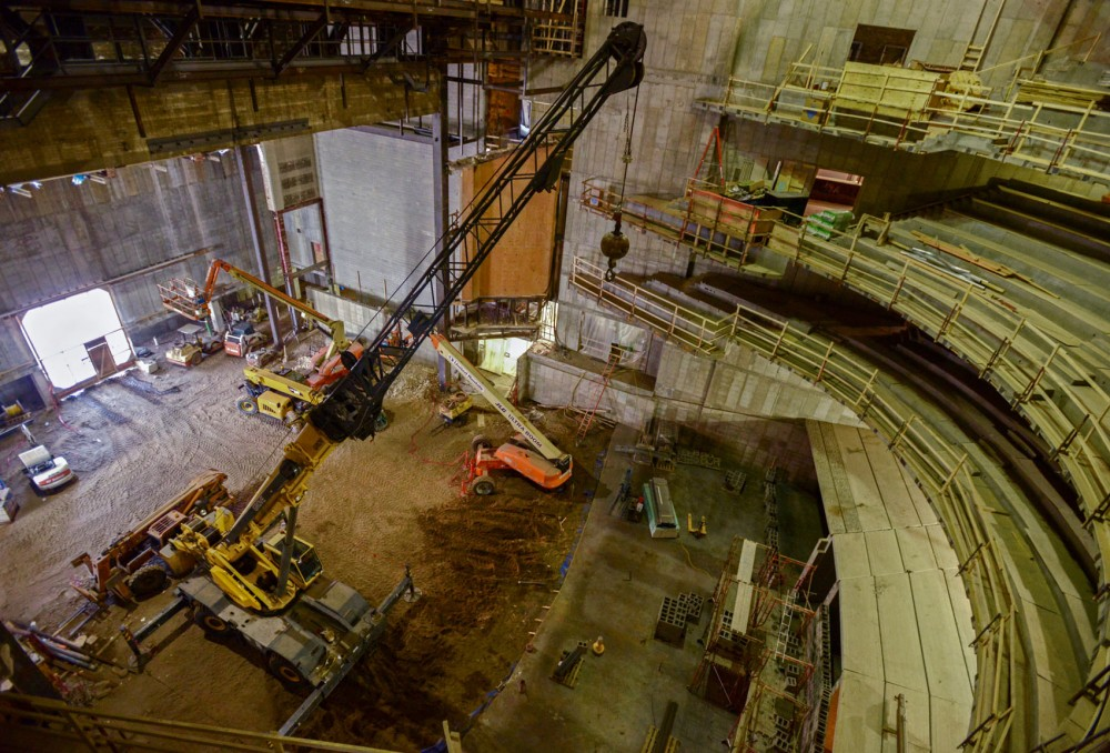 Inside of Northrop Auditorium, which is currently under construction.