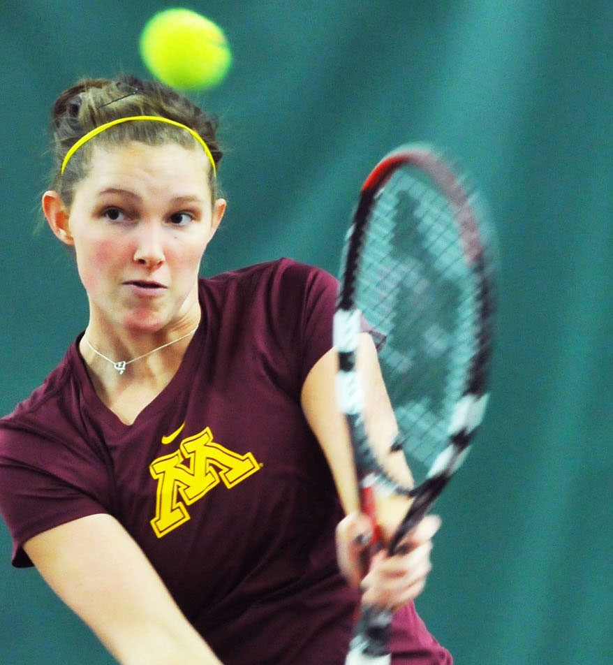 Minnesota's Alexa Palen plays against Wisconsin on Friday, March 4, 2011, at the Baseline Tennis Center.
