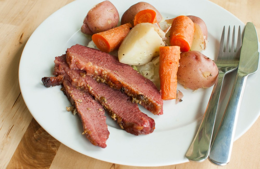 A traditional Irish boiled dinner of corned beef, potatoes, carrots, and cabbage.