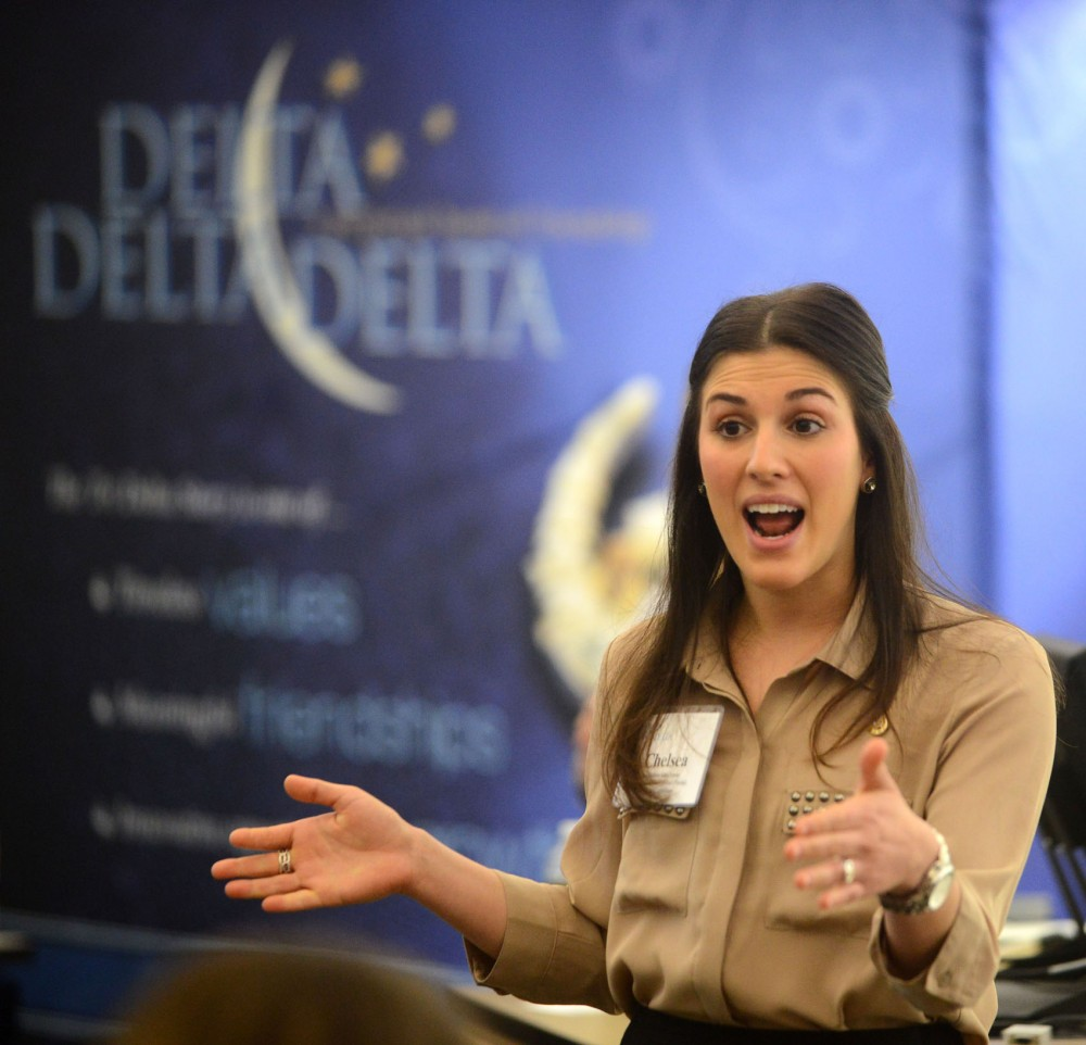 Field Consultant Chelsea Gauchman talks about what it means to her to be a Delta Delta Delta at a sorority extension event on Sunday, March 10, 2013, at Hanson Hall.