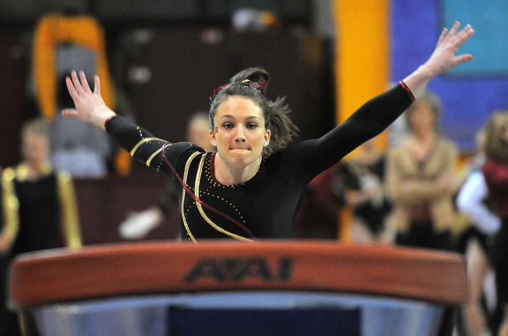 Minnesota's Cierra Tomson competes on the vault on Saturday, March 9, 2013, at the Sports Pavilion.