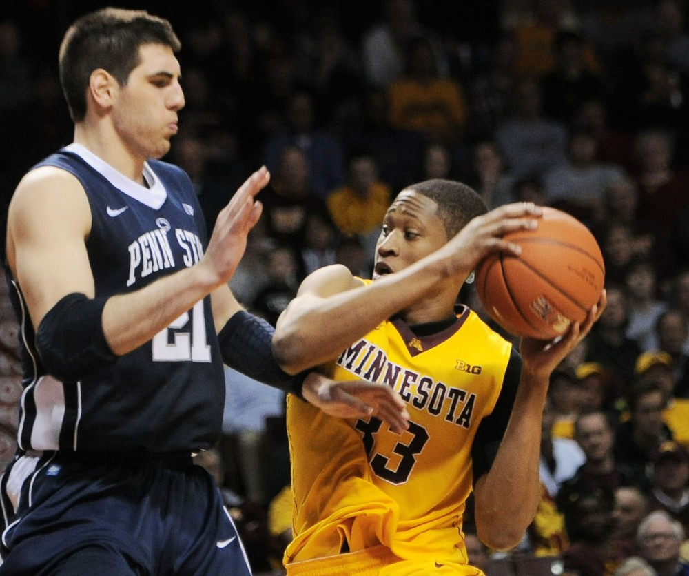 Minnesota forward Rodney Williams makes a move against Penn State on Saturday, March 2, 2013, at Williams Arena.