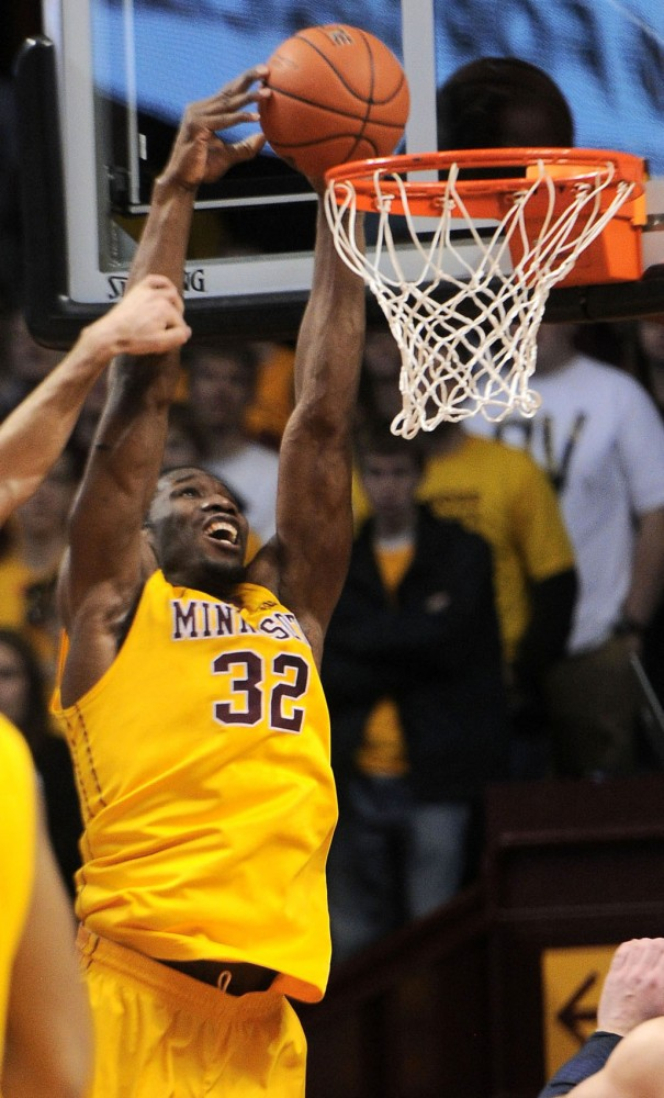 Minnesota forward Trevor Mbakwe dunks the ball against Penn State on Saturday, March 2, 2013, at Williams Arena.