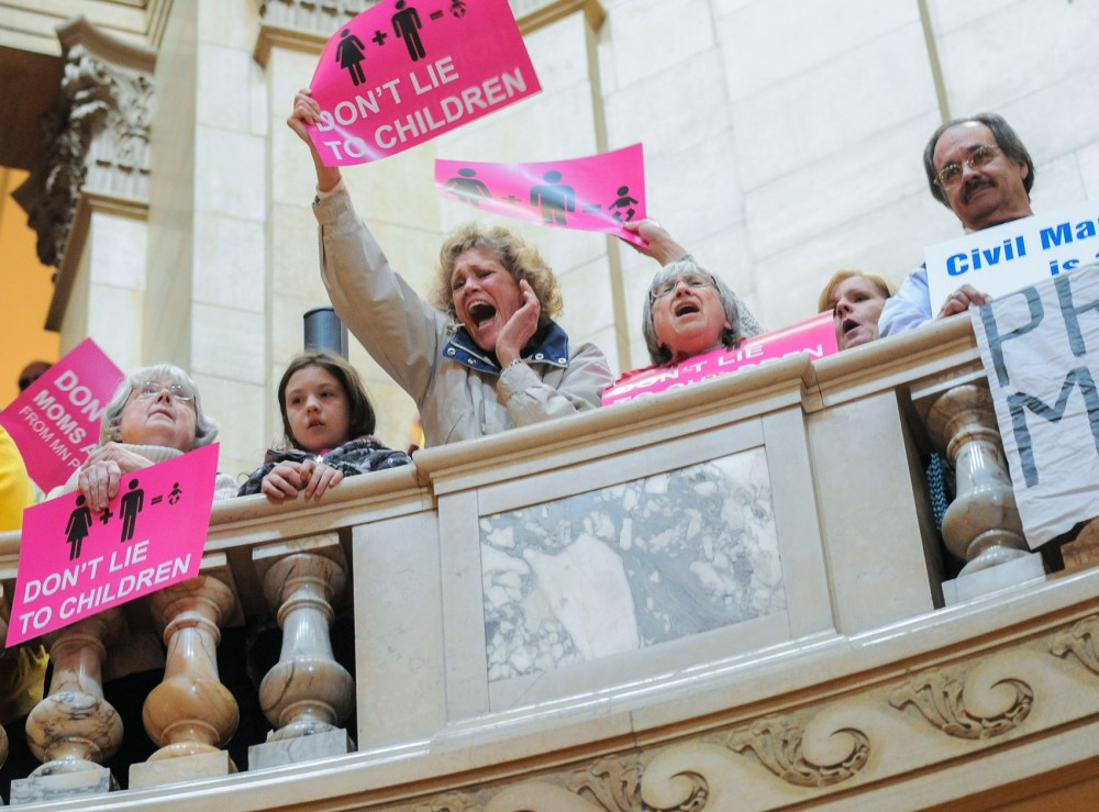 Rally attendants cheer during the Minnesota for Marriage rally on Thursday, March 7, 2013, at the State Capital.