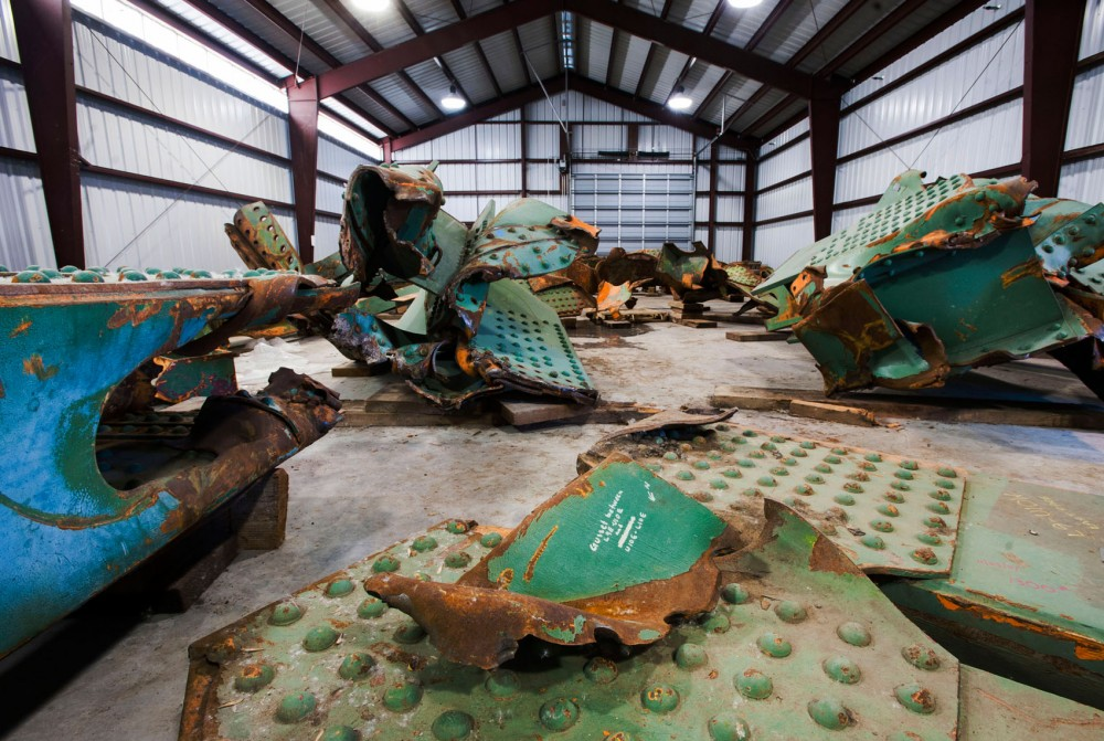Dozens of pieces of wreckage from the old 35W bridge lay in storage Monday, April 1, 2013, at a MnDOT facility in Oakdale, Minn. The bridge collapsed during rush hour on Aug. 1, 2007, killing 13 people and injuring 145 more.