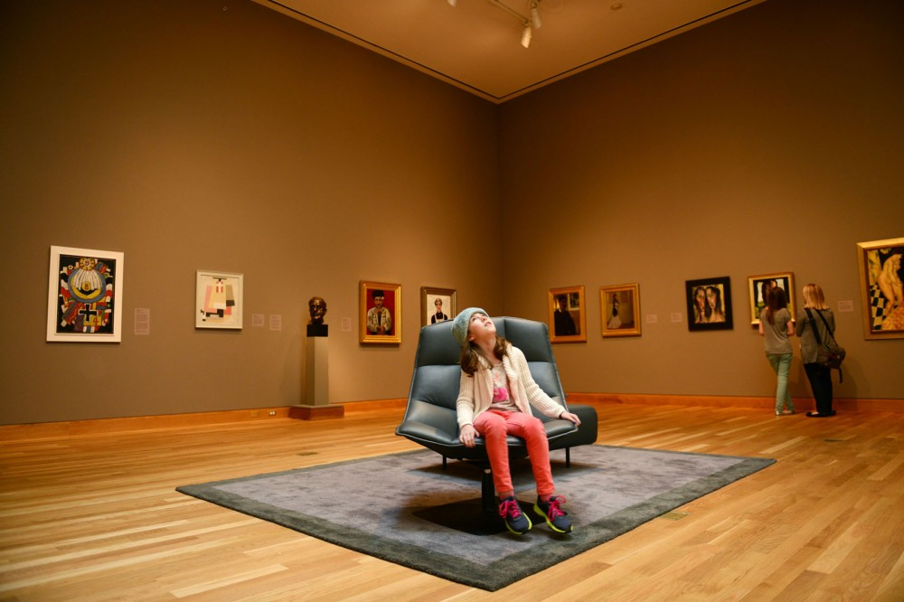 Eight-year-old Sophie Kegley visits the Weisman Art Museum during her spring break with her mother and sister.
