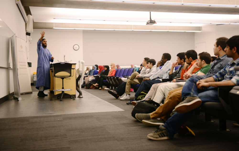 Darul Hikmah instructor Mufti Hussain Kamani speaks to Muslim students about the Sunnah, the lifestyle of the Prophet Muhammad, on Friday, April 26, 2013, at the Science Teaching and Student Services building.