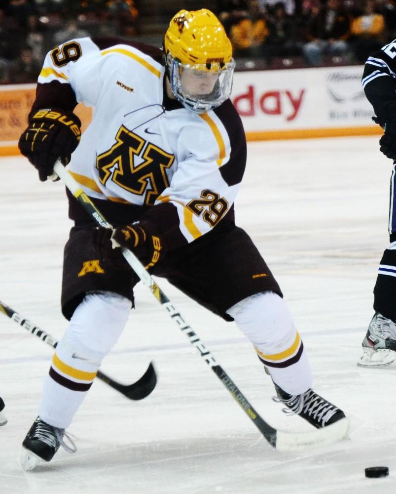 Minnesota defenseman Nate Schmidt plays against Minnesota State-Mankato on Friday, Nov. 2, 2012, at Mariucci Arena.