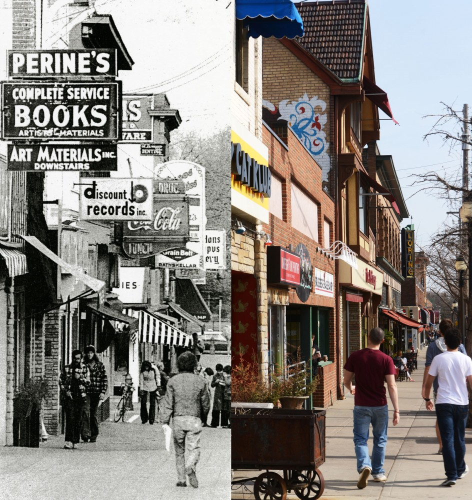 Dinkytown before and after Minneapolis approved an amendment requiring the removal of overhanging and freestanding commercial signs and billboards measuring more than six square feet, in order to