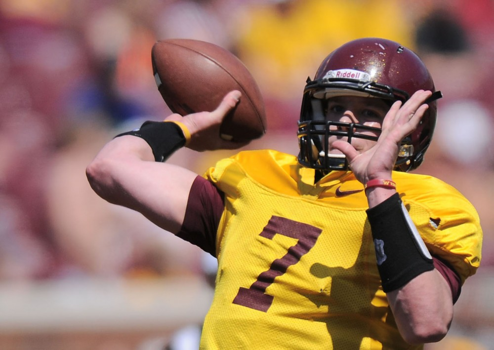 Quarterback Mitch Leidner throws the ball to a receiver during the spring game on Saturday, April 27, 2013, at TCF Bank Stadium.