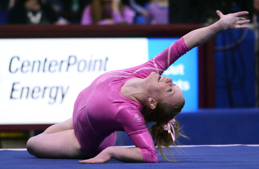 Minnesota gymnast Linday Mable competes on the floor on Saturday, March 16, 2013, at The Sports Pavilion.