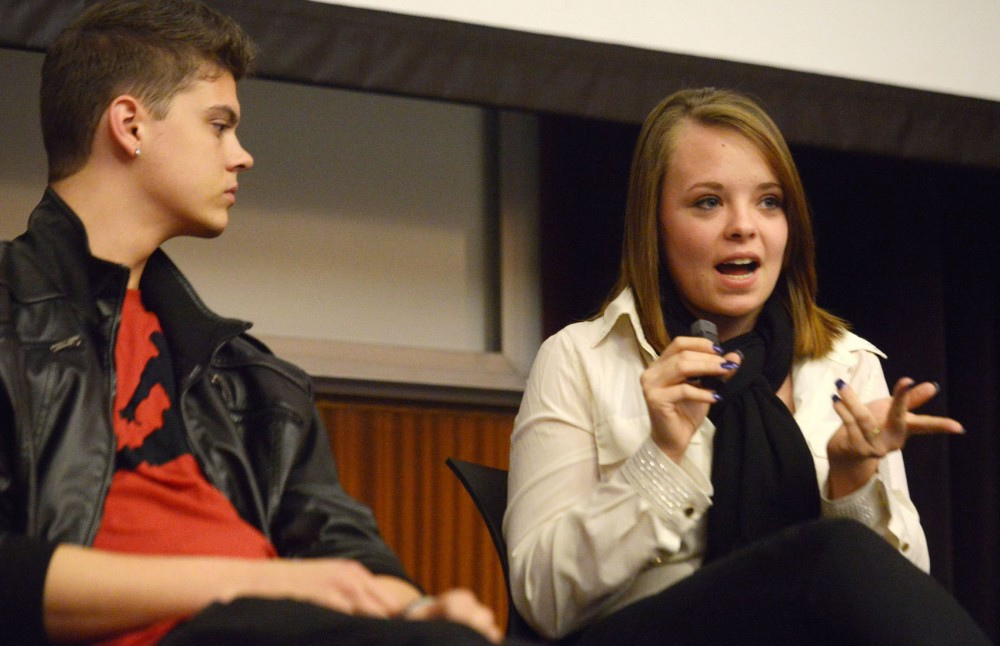 Teen Mom stars Tyler Baltierra and Catelynn Lowell visit the University to speak about their experience with adoption on Wednesday, April 17, 2013, at the Bell Museum.