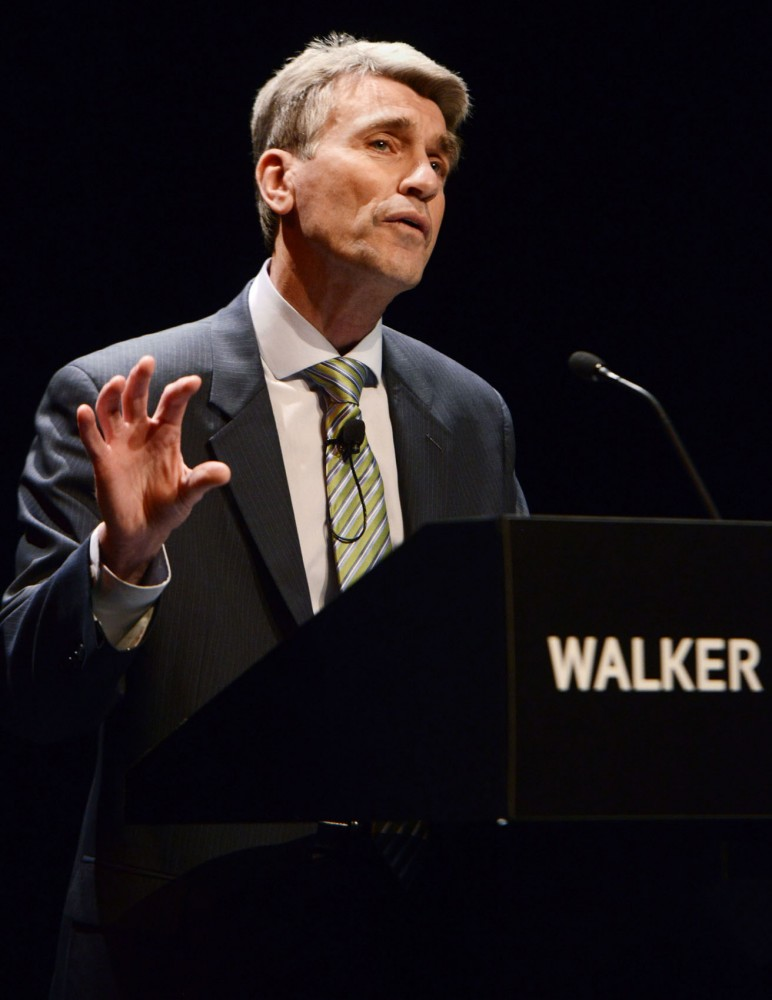 Minneapolis Mayor R.T. Rybak gives his final State of the City address. Rybaks speech looked to the future, envisioning Minneapolis as a larger, more diverse city packed with transit and green space by 2025.