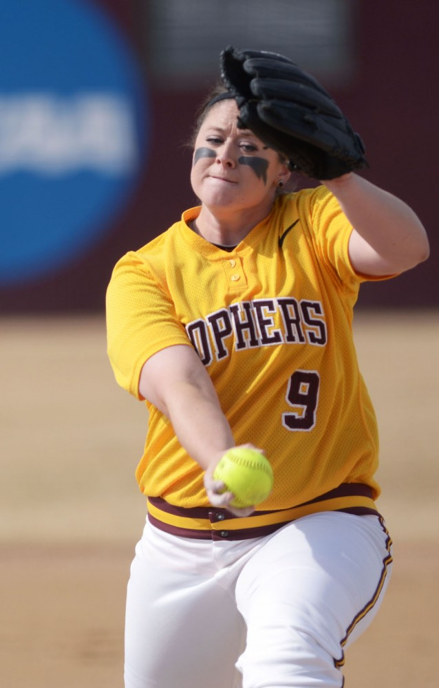 Minnesota pitcher Sarah Moulton pitches during a double header against Madison on Sunday, April 7, 2013, at Jane Sage Cowles Stadium.