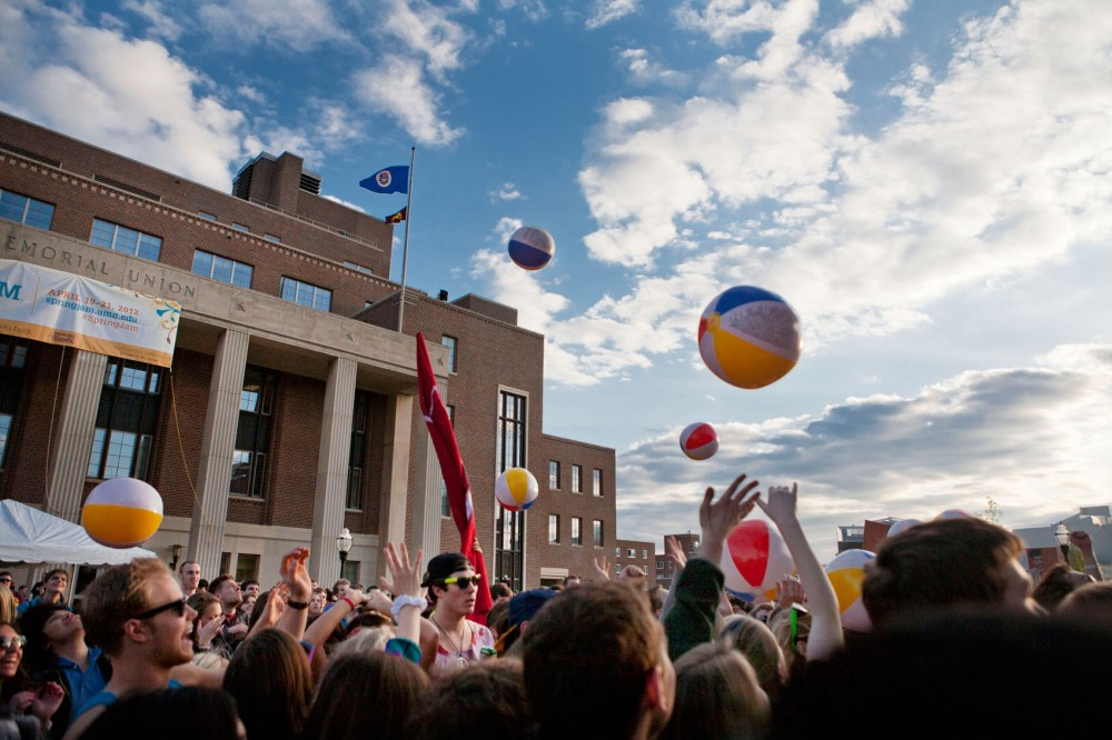 Students and the public attend the Battle of the Bands on Friday, April 20, 2012, in front of Coffman Union.