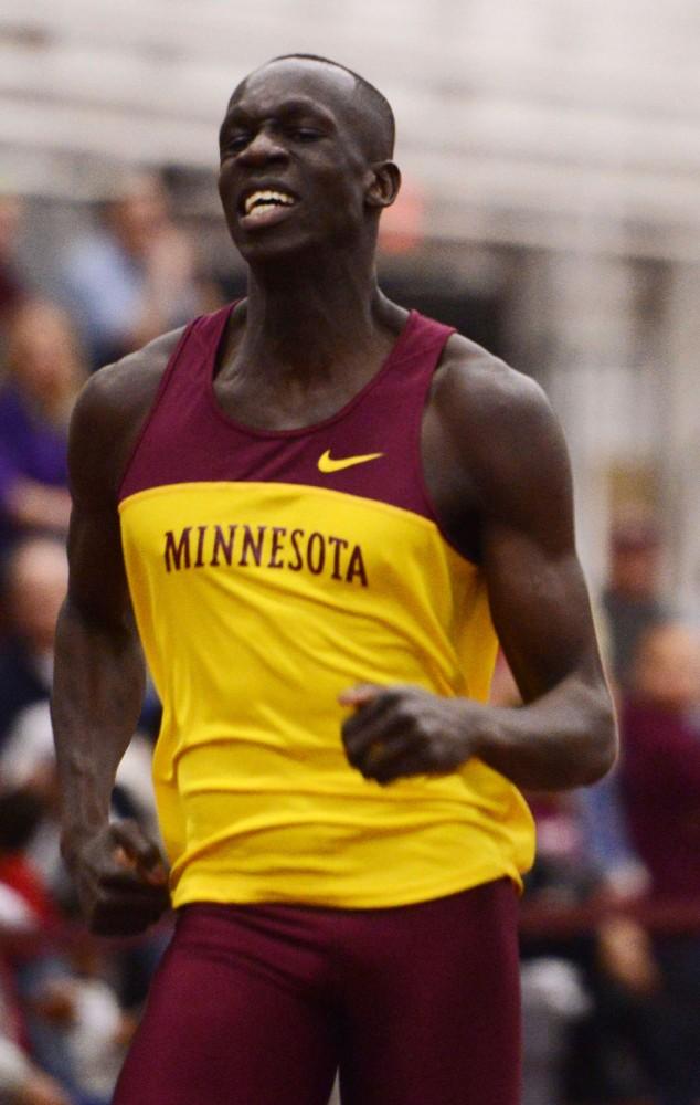 Minnesota's Goaner Deng runs the 600-meter dash on Friday, Feb. 15, 2013, at the University Fieldhouse.
