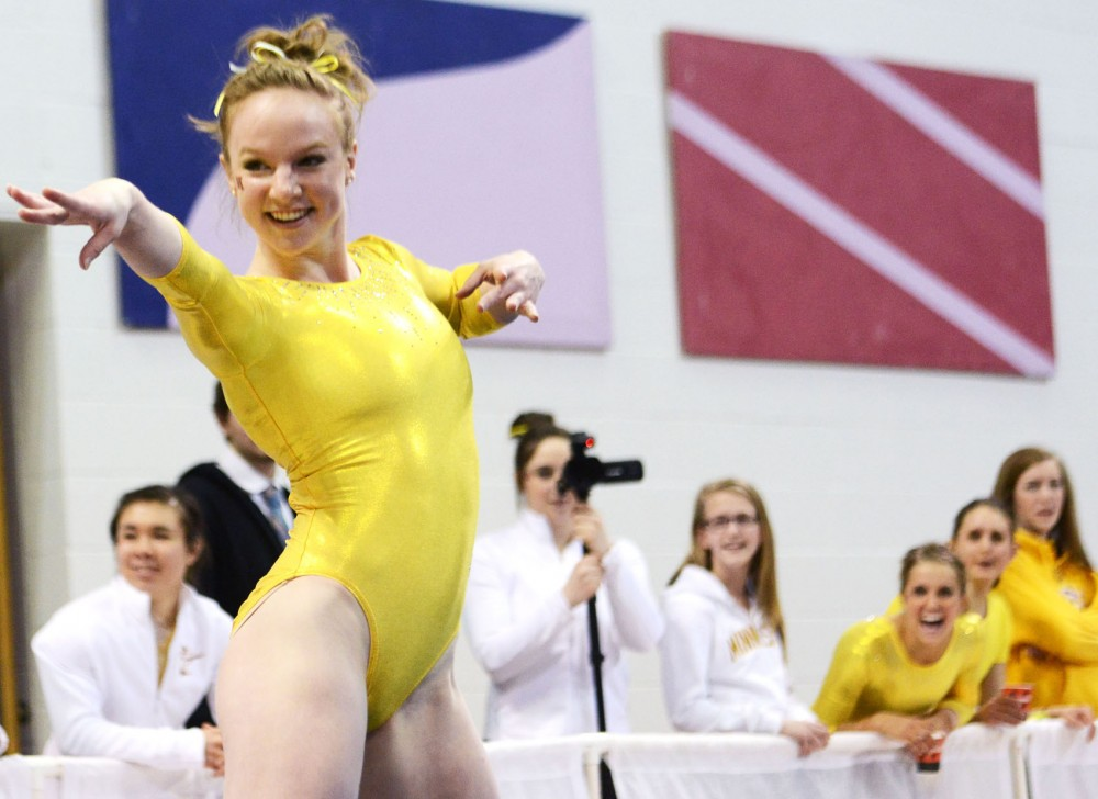Minnesota's Lindsey Mable performs on the floor on Saturday, Feb. 16, 2013, at the Sports Pavilion.