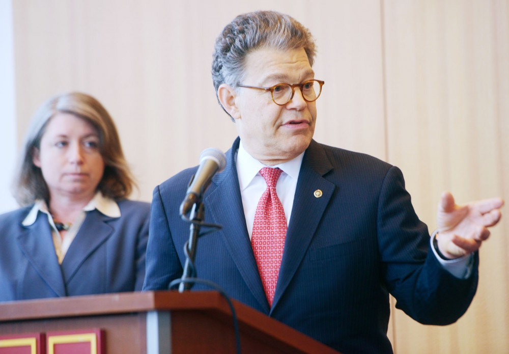 Minnesota Senator Al Franken describes how new generators designed by Minnesota manufacturer Cummins Power Generation could cut energy use in Afghanistan and other places overseas at a press conference on Wednesday, May 1, 2013, at TCF Stadium.