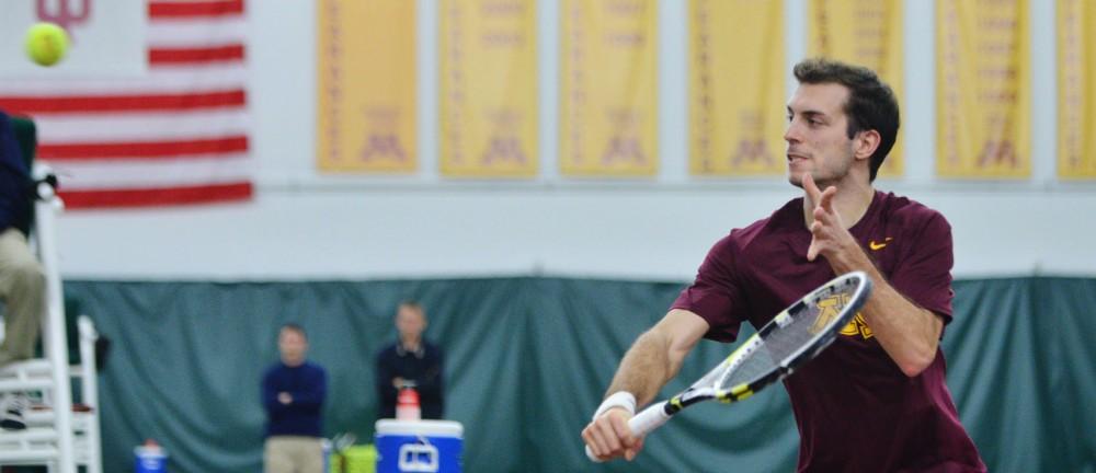 Minnesota senior Rok Bonin returns a shot against Boise State on Saturday, Feb. 9, 2013, at the Baseline Tennis Center.