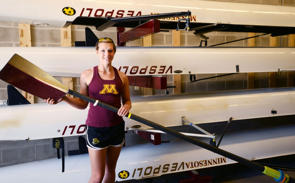 Minnesota rower Becky Kinchen at the Boathouse on Monday, April 29, 2013. Kinchen, a mechanical engineering major, will start a job at Boeing in the summer.
