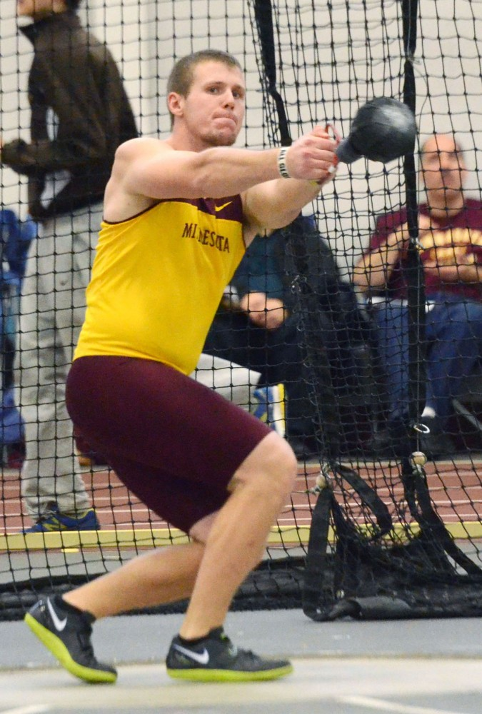 Minnesota thrower Micah Hegerle throws at the Jack Johnson invitational on Saturday, Jan. 19, 2013, at the University Fieldhouse.
