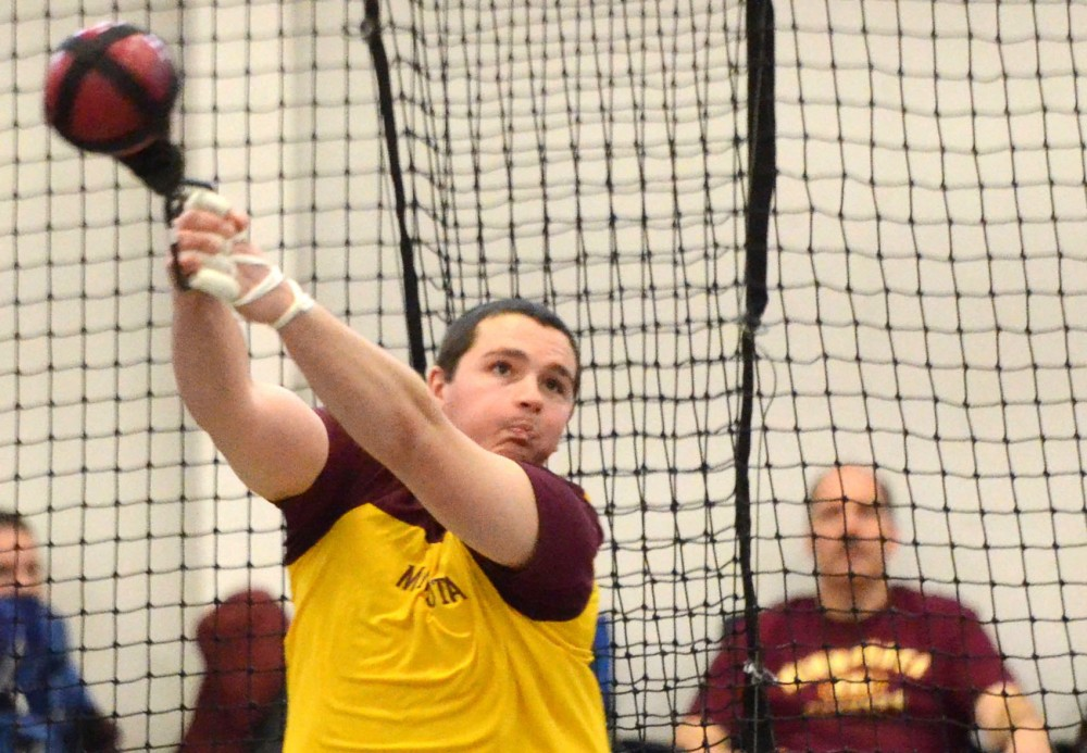 Minnesota thrower Quentin Mege throws at the Jack Johnson Invitational on Saturday, Jan. 19, 2013, at the University Fieldhouse.