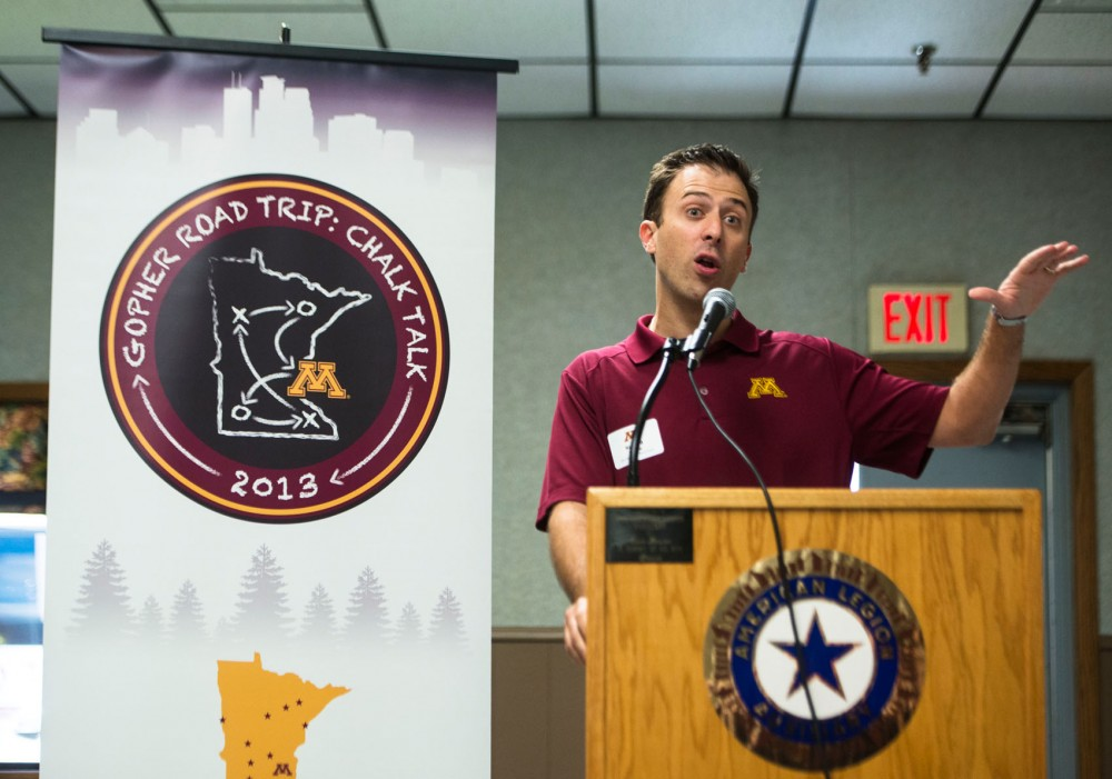 New Minnesota men's basketball head coach Richard Pitino talks to Gopher fans about getting to know his team during a stop along the Gopher Road Trip: Chalk Talk press tour on June 17, 2013, in Willmar, Minnesota.