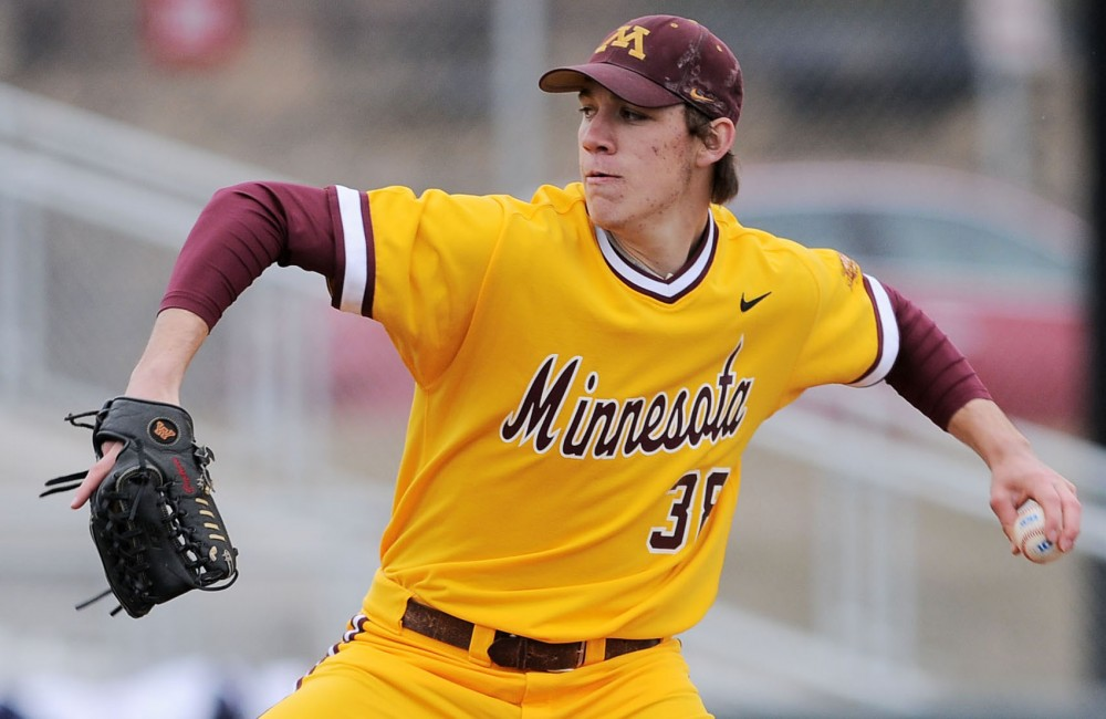 Pitcher Tom Windle throws a strike on Friday, April 5, 2013, against the Ohio State Buckeyes at Siebert Field.