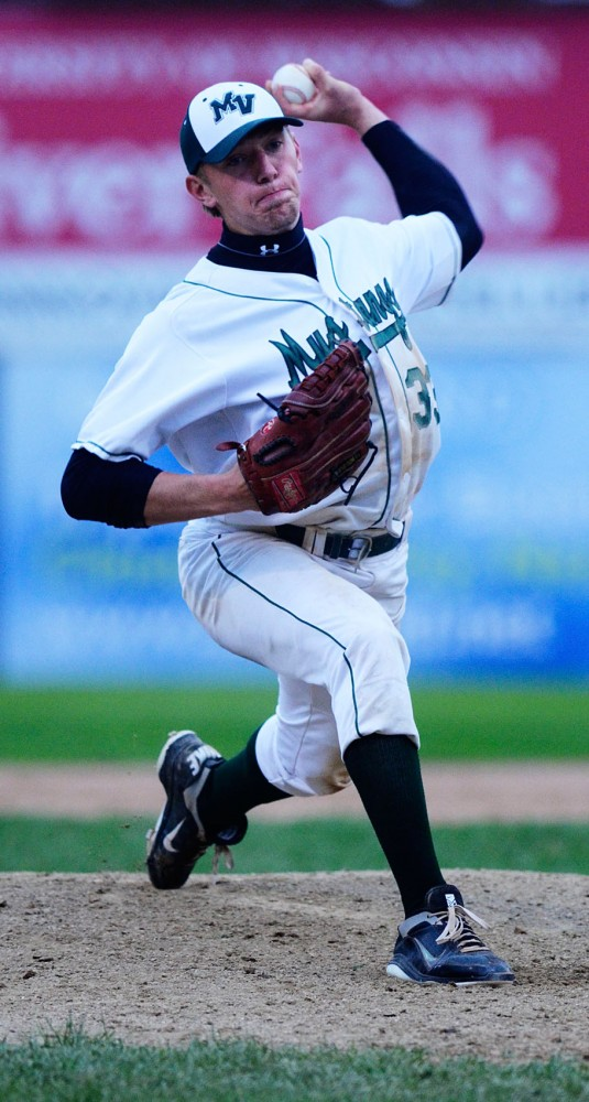 Mounds View High School senior Max Knutson pitches to Roseville Area High School on May 25, 2013, at Midway Stadium in St. Paul.