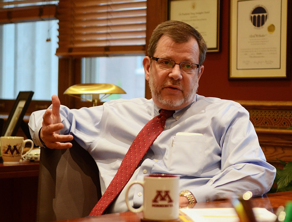 President Eric Kaler answers a few questions in his office in Morrill Hall Tuesday morning.