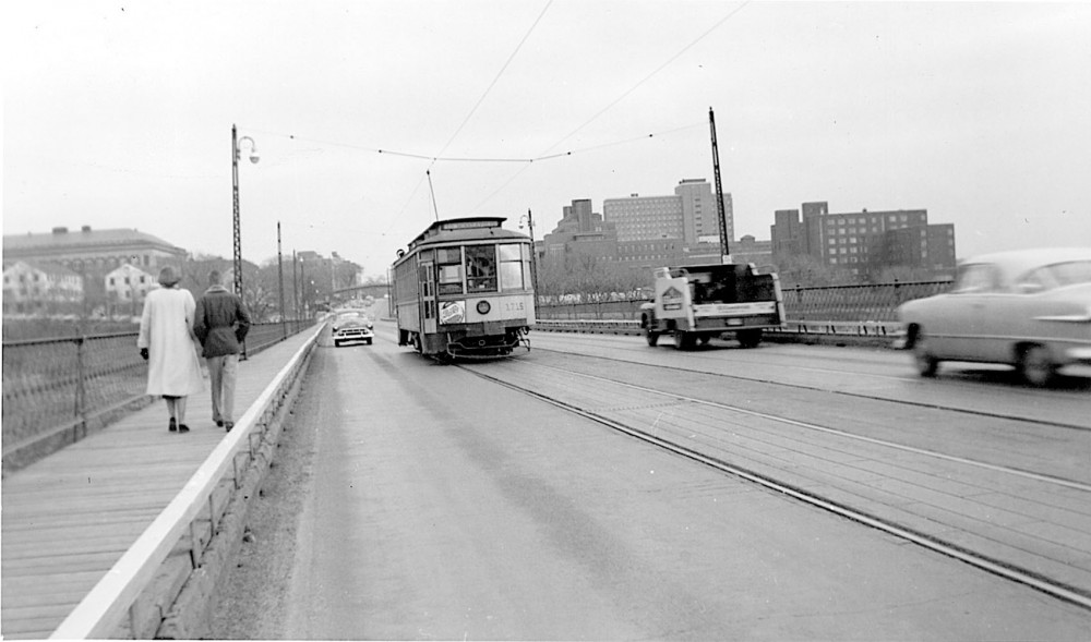 A streetcar passes over the old Washington Avenue bridge.