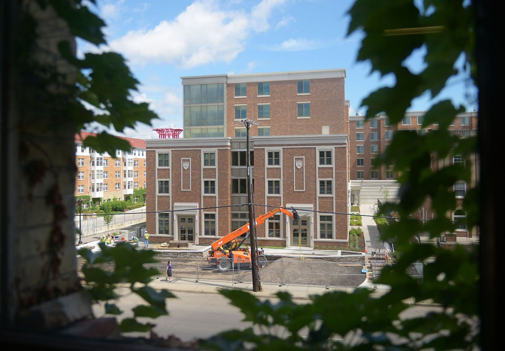 The new 17th Avenue residence hall recently signed leases with one fraternity, Theta Chi, and one sorority, Chi Omega, and will have dedicated front entrances facing University Avenue.