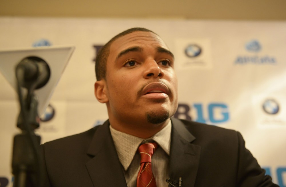Gophers' defensive back Brock Vereen addresses the media at the Big Ten media days in Chicago on Wednesday, July 24, 2013.