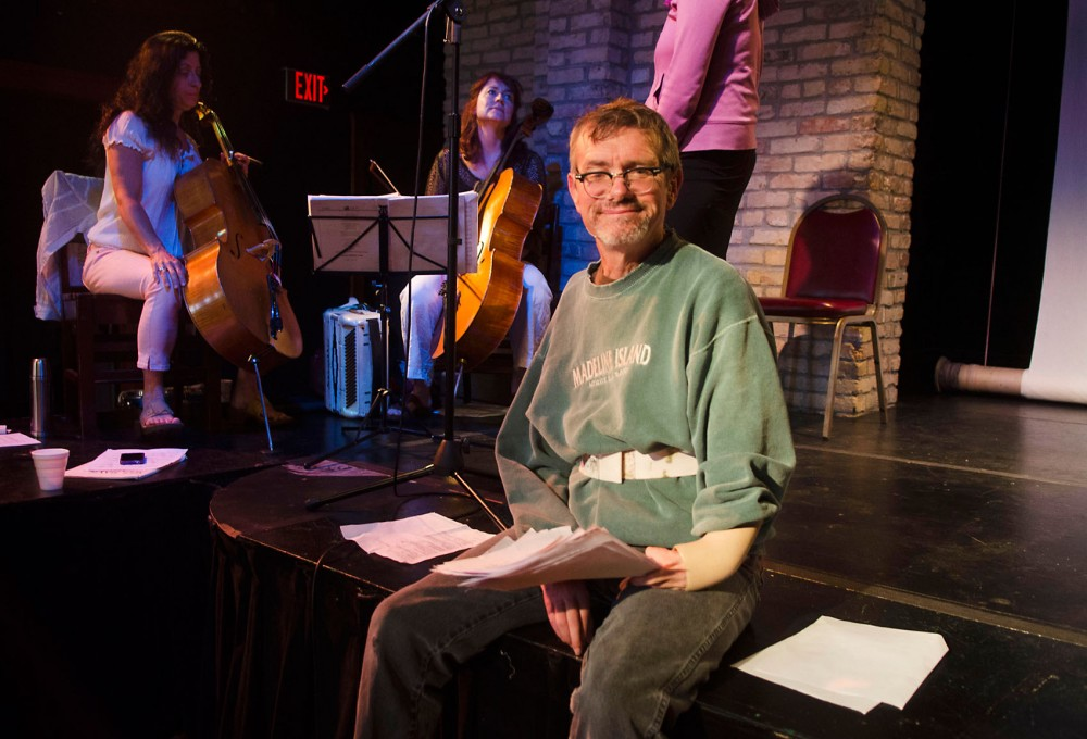 Kevin Kling, writer of Humanimal,  during rehearsal at Open Eye Figure Theater on Monday evening.