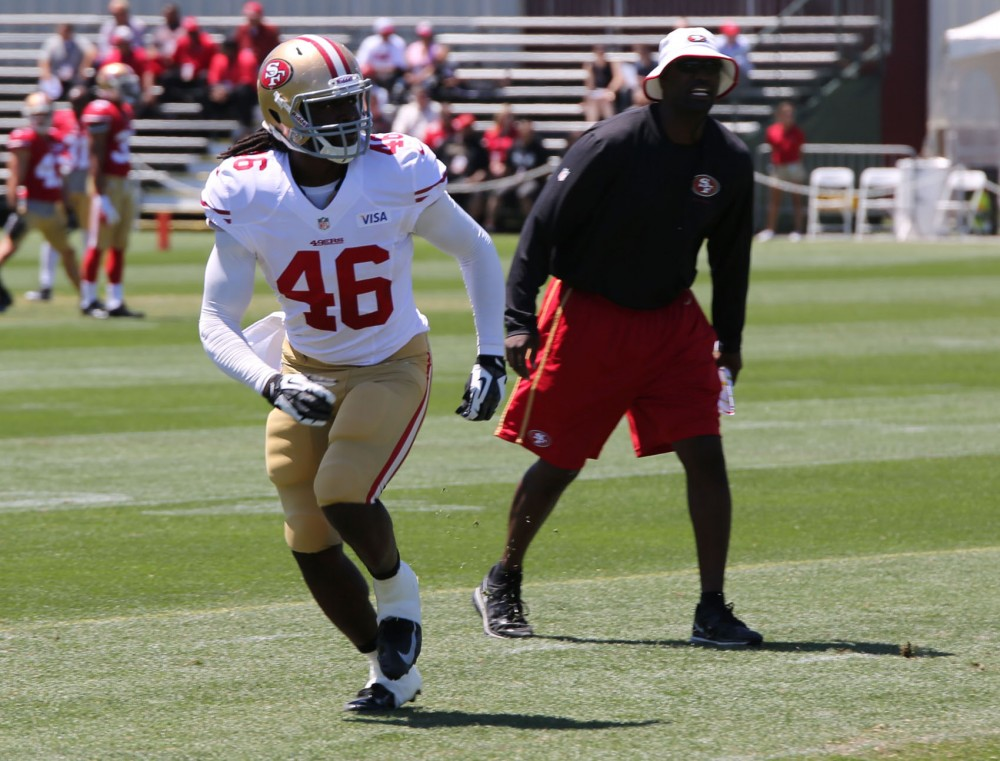 Former Gophers quarterback MarQueis Gray participates in the San Francisco 49ers' training camp. Gray has played mostly tight end through the first two weeks of training camp.
