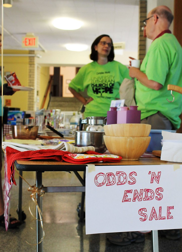 A sale at University Lutheran Church of Hope sells gently used household items to University of Minnesota students and community members on Saturday. The church, located in the Marcy-Holmes neighborhood, hosted live music and served food throughout the day.