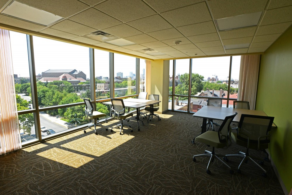 A study lounge on the six floor of the new 17th Avenue residence hall.